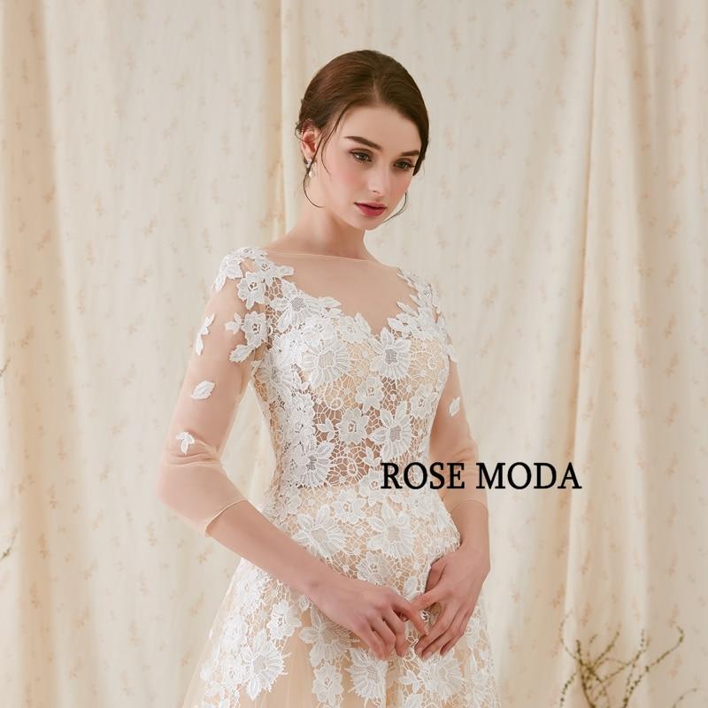 Rose Moda Fransk Blond Wedding Dress 2018 med långa SLeeves - Bröllopsklänningar - Foto 5