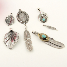 1pc Silver Color Feather Leaf DIY Pendant Jewelry Findings Necklace Bracelet Earrings Fake Gemstone Charm Handmade Accessories