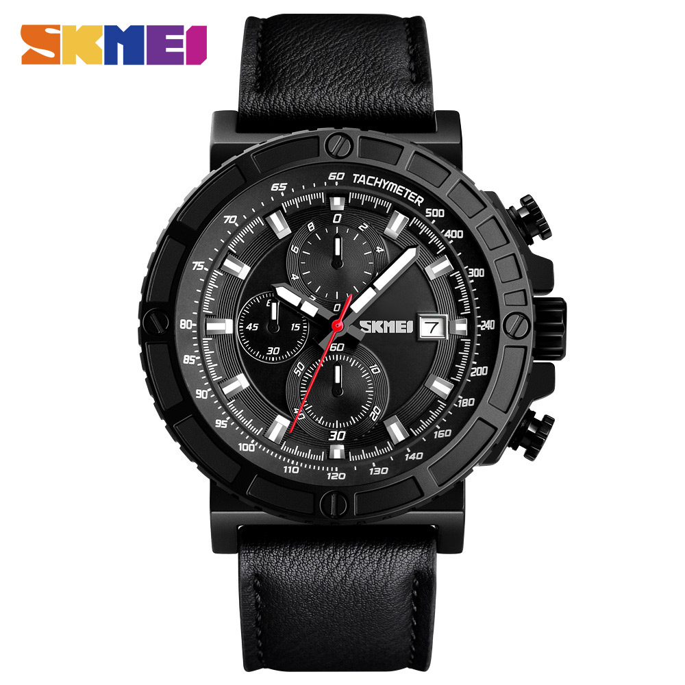 SKMEI Outdoor Sports Quartz Man Watches Genuine Leather Watches Stopwatch Students Military Chronograph Watch relogio masculino