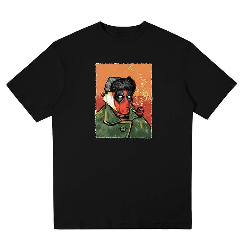 Deadpool T shit creative design Van gogh painting T-shirt short sleeve O-neck Funny Tee shirt Harajuku style Free Shipping