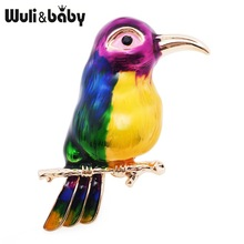 Wuli i beba Purple Green Bird Enamel Broševi Žene Muške Alloy Thrush Animal vjenčanja Banquet Party Broš dar Djevojka's Accessories