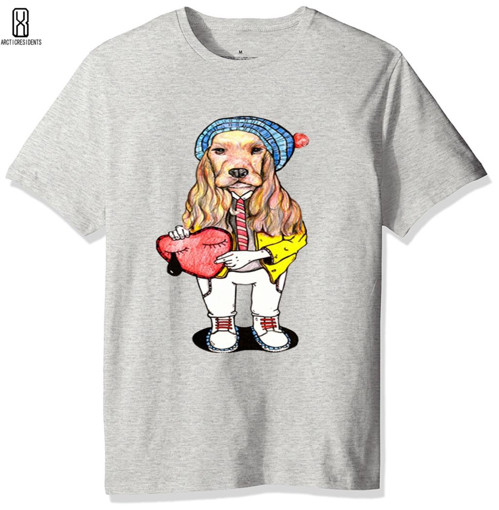 HOT Tide brand short sleeved skull T-shirt male Youth Trend Hip Hop Gray funny Animal tees Cotton Creative dog print Tshirt L creative vip pattern pet dog cotton t shirt black yellow size l