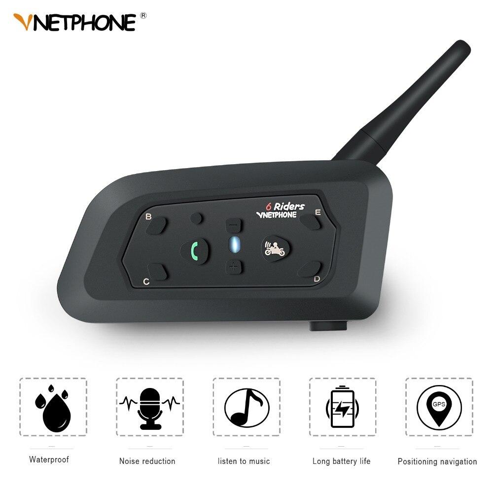 VNETPHONE V6 Interfone Intercomunicador Do Capacete Da Motocicleta Fone De Ouvido Bluetooth Comunicação 6 Pilotos Interphone Speaker MP3 GPS
