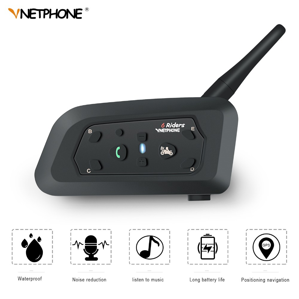 VNETPHONE V6 de la motocicleta Intercomunicador Moto casco Altavoz Bluetooth auriculares para 6 corredores Interphone IP65 MP3 GPS
