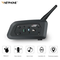 VNETPHONE V6 Motorcycle Intercom Intercomunicador Moto Helmet Speaker Bluetooth Headset for 6 Riders Interphone IP65 MP3 GPS