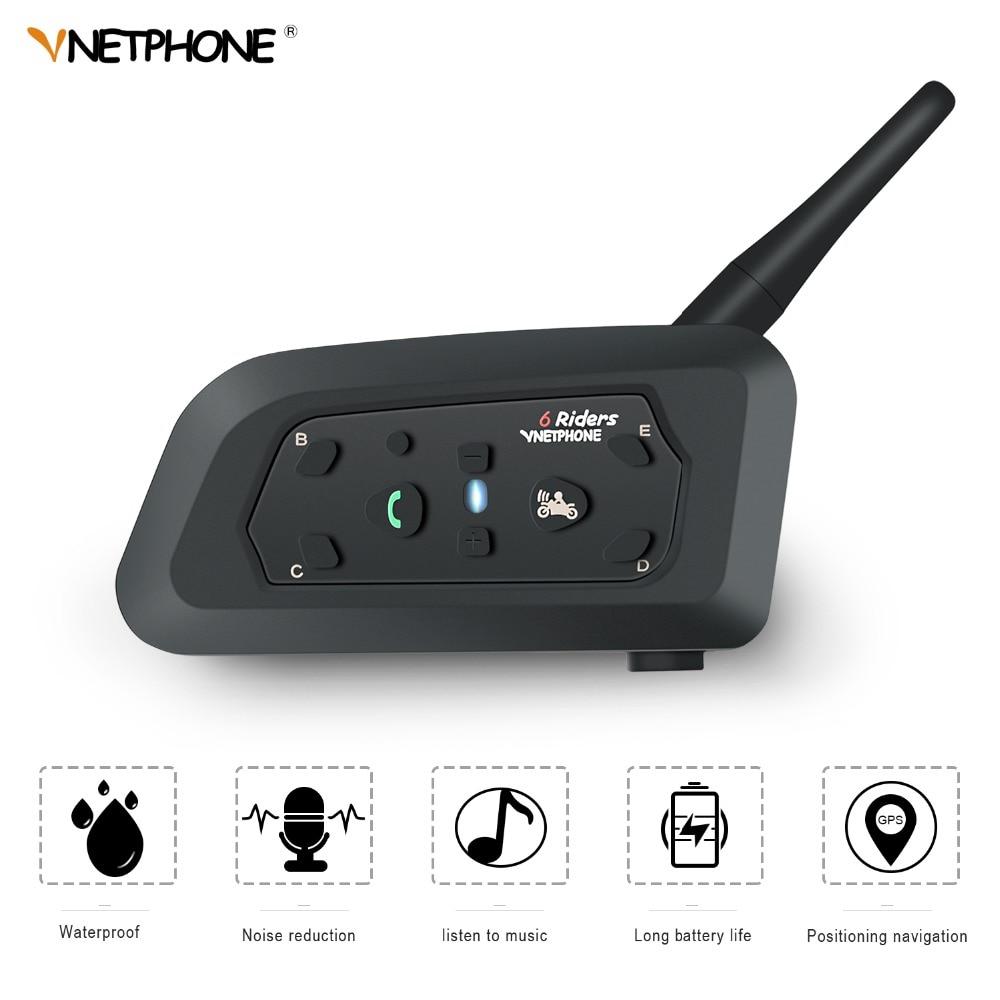 VnetPhone 1 set V6 Bluetooth Intercom Moto Motorcycle Helmet Accessories Speaker 1200m Interphone Headset Support Wireless