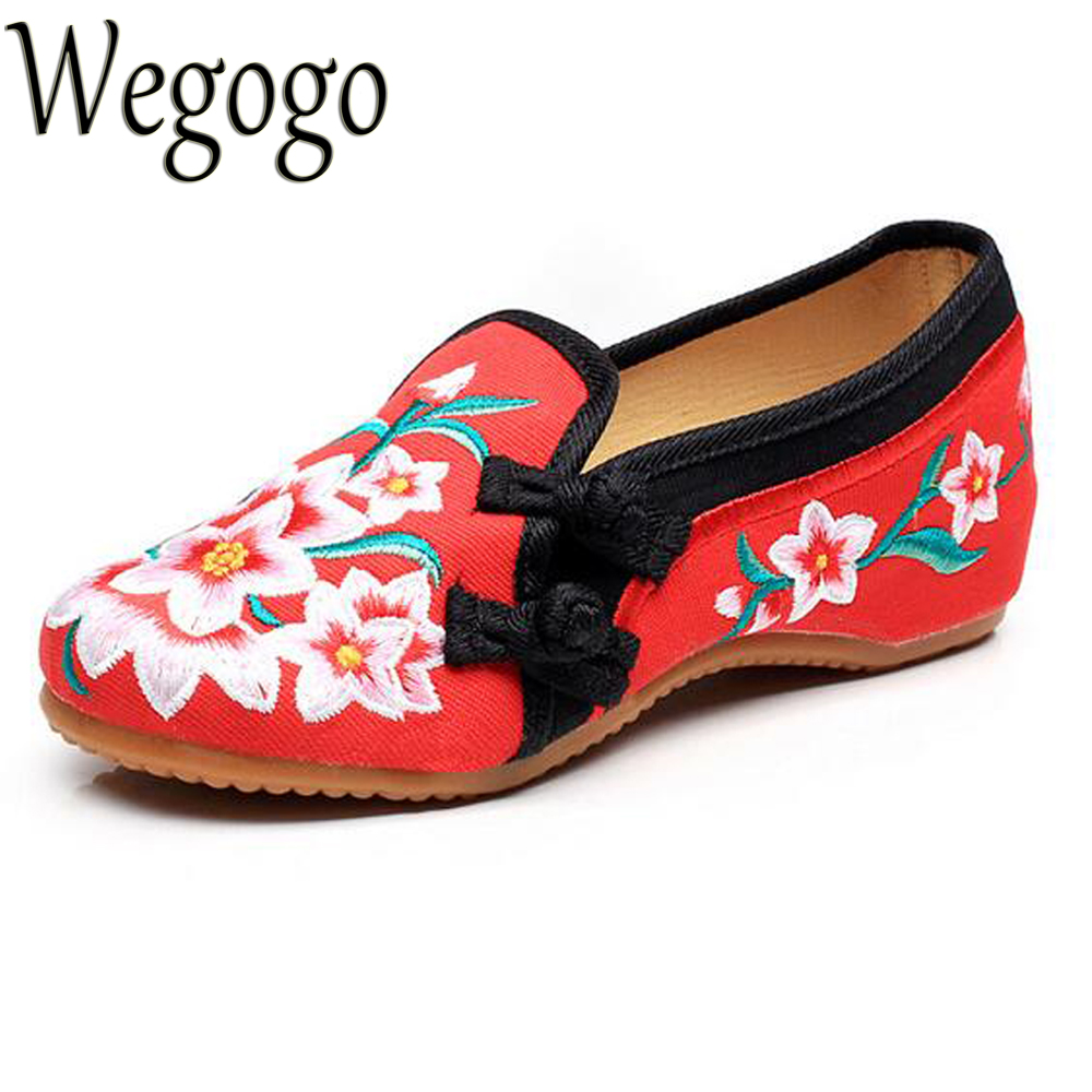 Women's Flats Shoes Ladies Slip On Shoes Ballet Flats Vintage Flower Embroidered Comfortable Round Toe Shoes Woman