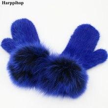 Harpppihop natural mink fur gloves for women winter mitten knitted fox wrist new brand elastic