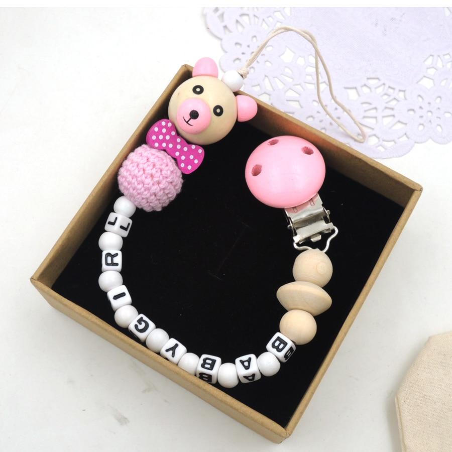NYHET träbjörn pärla slips anpassad napp för baby naturlig virka - Äta och dricka - Foto 2