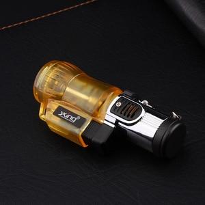 Image 2 - Three Nozzles Fire Torch Turbo Lighter Spray Gun Jet Butane Pipe Lighter Gas Cigarette 1300 C Fire Windproof Cigar Lighter