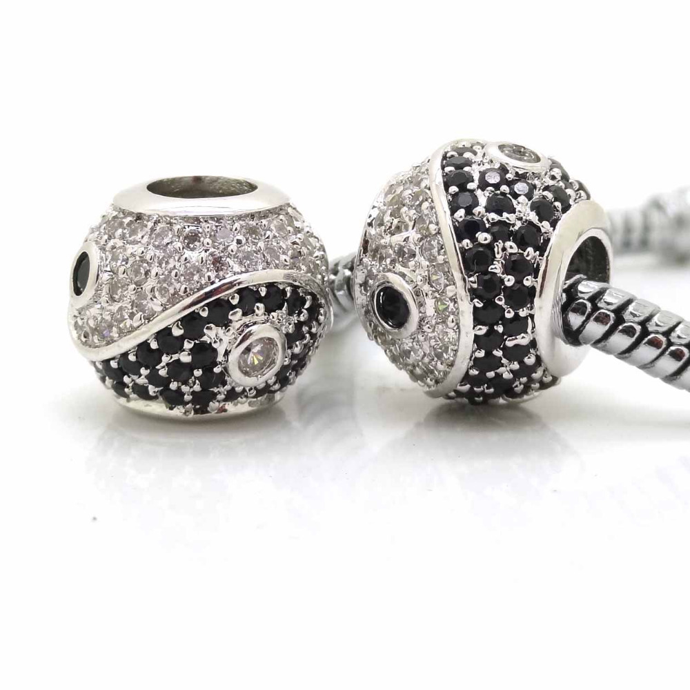 Fits Pandora Bracelet DIY Making Silver Color Authentic Yin Yang Tai Chi  Charms Micro pave zircon Beads Buddhism Jewelry