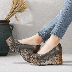 Image 3 - GKTINOO yeni kalın taban takozlar topuklu bahar ve yaz kadın ayakkabısı sığ ağız hakiki deri el yapımı Retro platformu pompaları