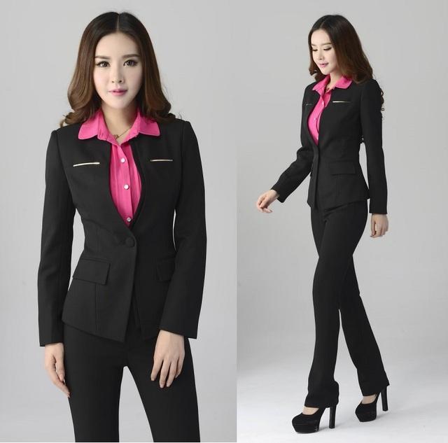Novo 2015 outono inverno terninhos formais jaqueta e calça trabalho negócios profissional usar ternos para o Office Ladies uniformes definir