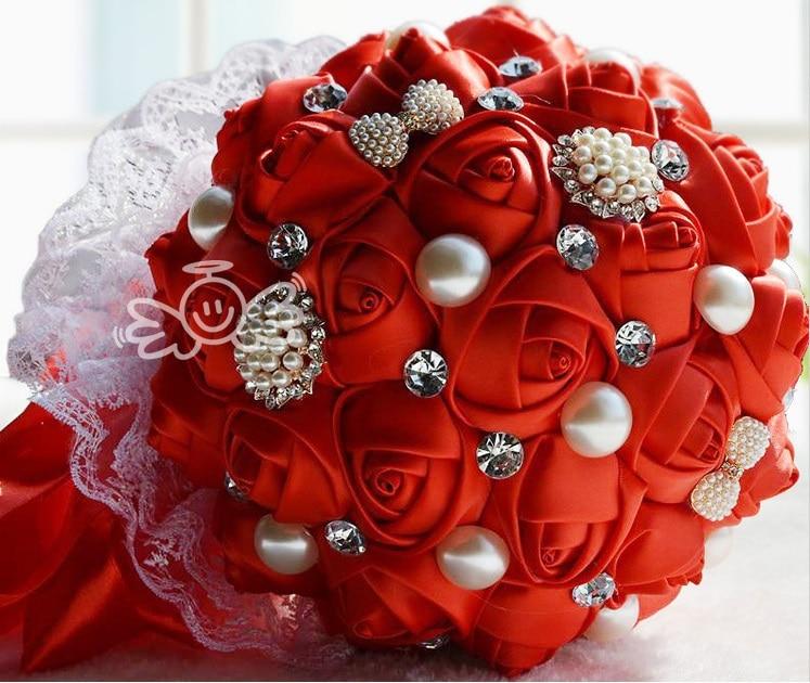 Luxurious red handmade wedding bouquet elegant shining