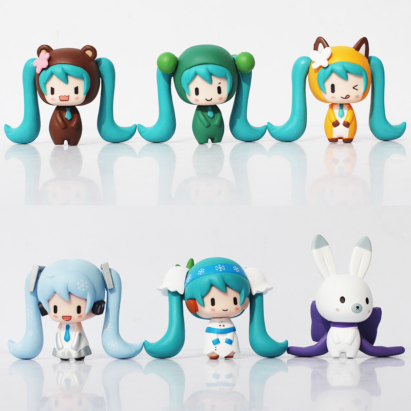 New 2015 Anime Q Version Hatsune Miku PVC Action Figure Model Toys Collective Doll Free Shipping image