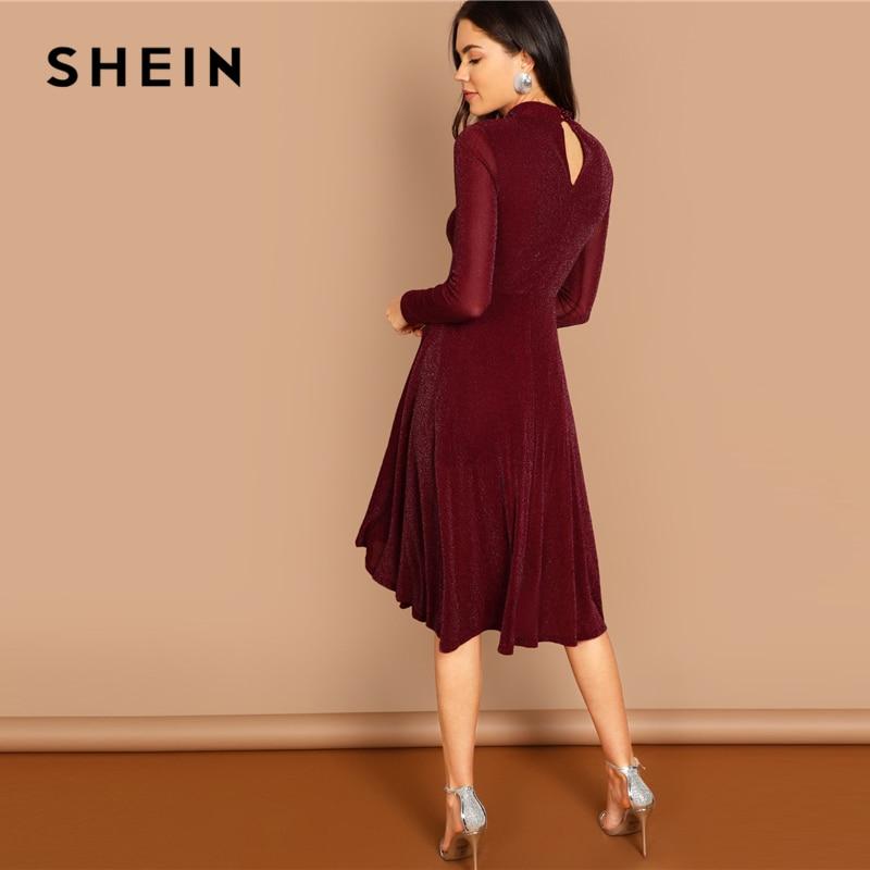 SHEIN Burgundy Going Out Dress Women's Dresses Women's Shein Collection