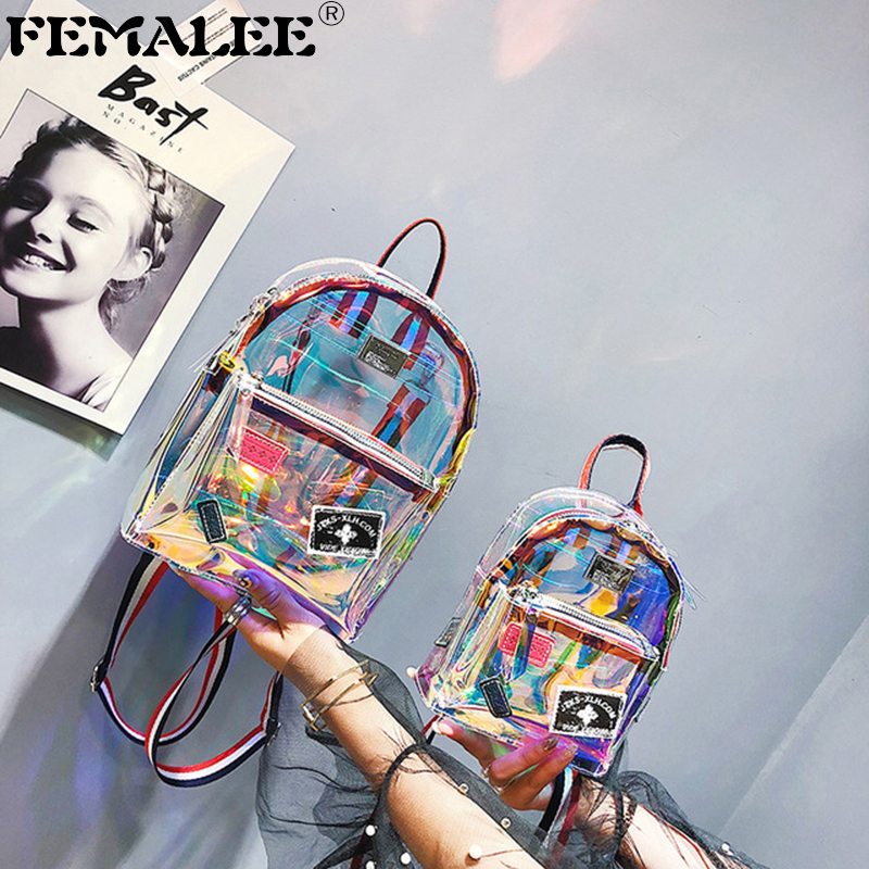 Women Transparent PVC Backpack Knapsack Jelly Travel Backpack Multipurpose Clear Bag Big Small Girl Laser Mochila School Bag