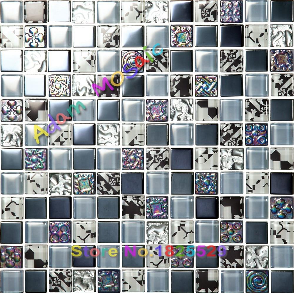 glass tiles blue inrdescent grey mosaic tile bathroom wall mirror ...