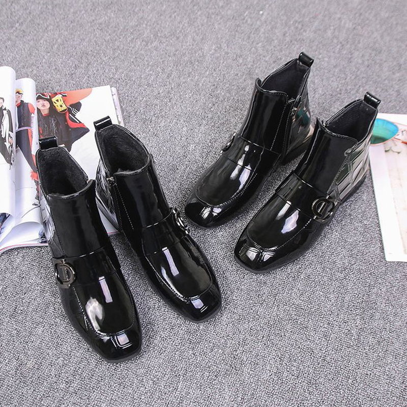 E TOY WORD Autumn women shoes patent leather thick with Booties black women 39 s ankle boots new side zipper women boots in Ankle Boots from Shoes