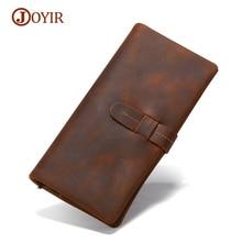 JOYIR  Long Slim Wallet Men Genuine Leather Men's Wallets Male Purse Money Vintage Crazy Horse Men's Purse Wallet Card Holder