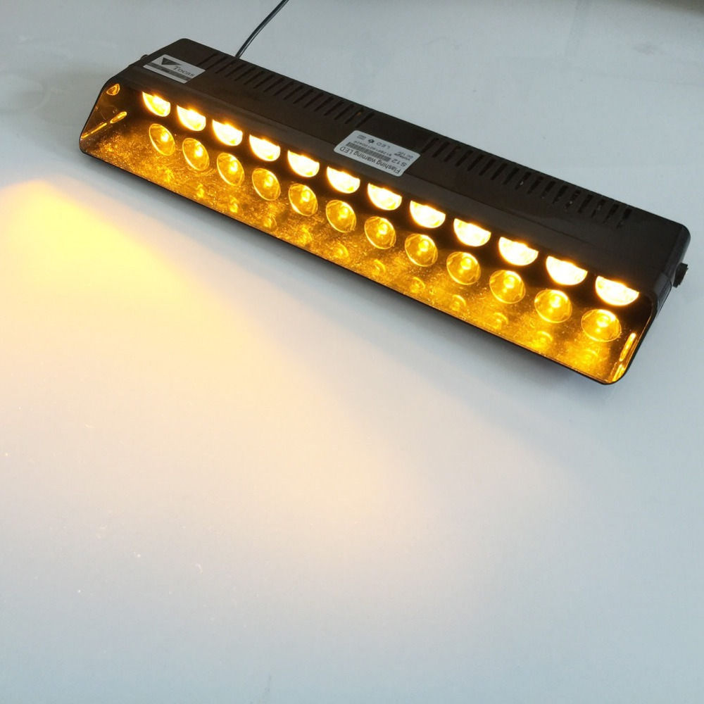 12 LED Emergency Warning Traffic Advisor Vehicle Strobe LED Flash Light Bar  Amber(China (