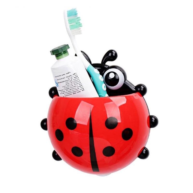 Cute Ladybug Zahnbürste Zahnpasta Halter Lagerung Regale Halter Wandabsaugung Bad Organizer Zubehör Liefert Produkte