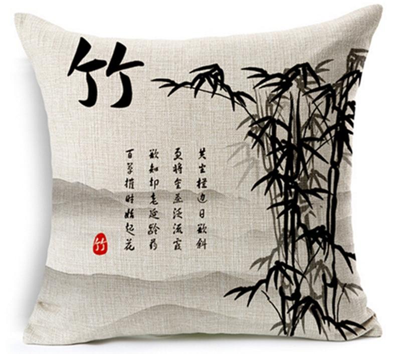 4 copë / shumë Stili i pikturës së bojës kineze Plum krizantemë - Tekstil për shtëpi - Foto 4