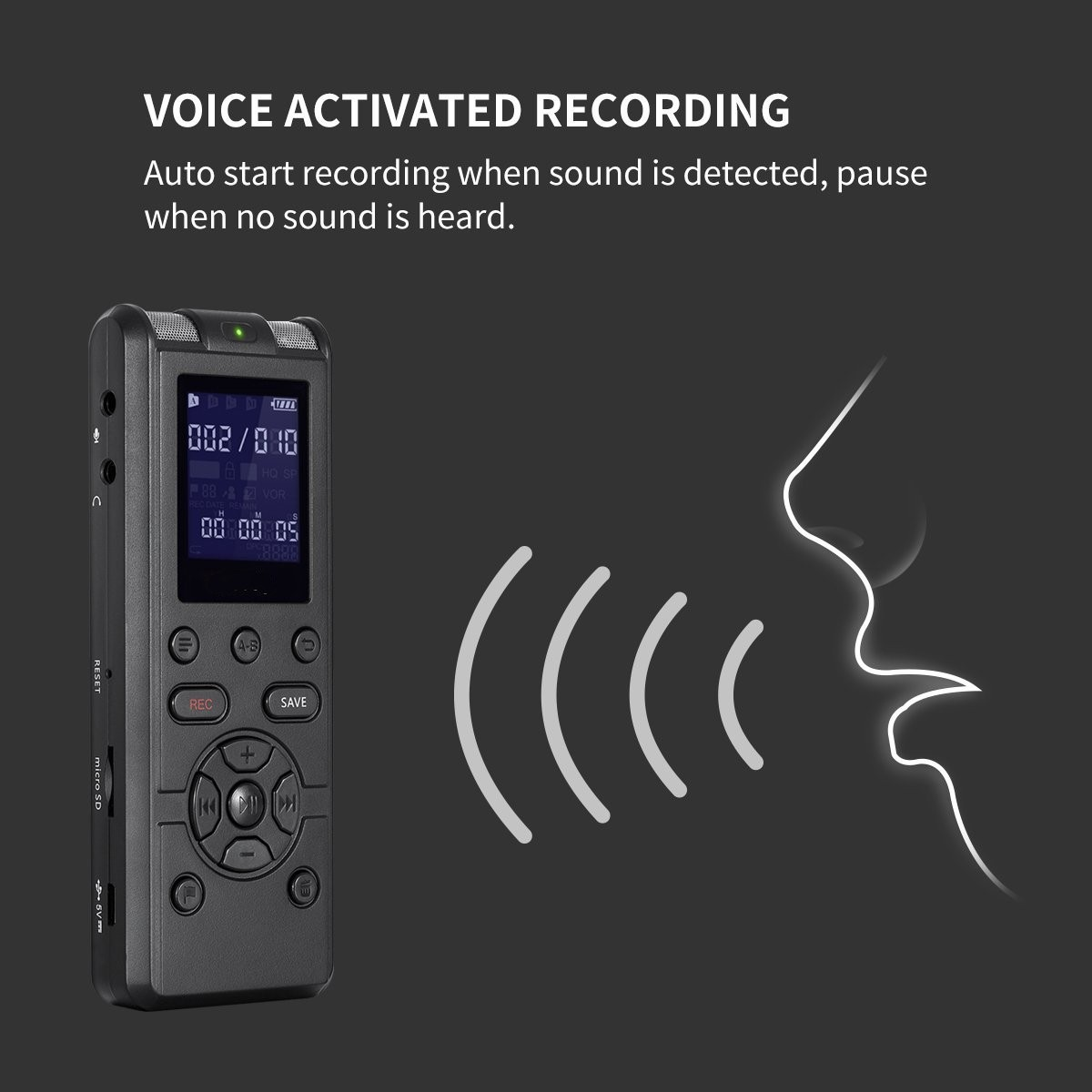 TORTOYO High Quality Professional Digital Voice Recorder Smart Sound Control Noise Reduction HD HIFI Loseless Music MP3 Player