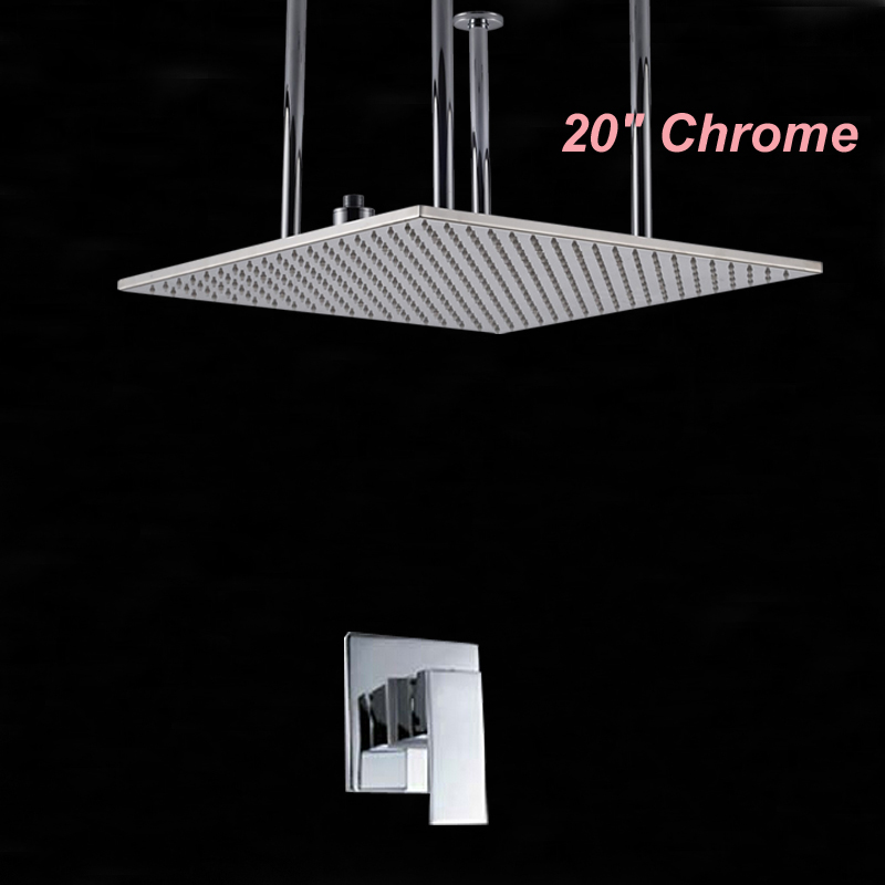 Wholesale And Retail Polished Chrome Brass 20 Rain Shower Head Faucet Valve Mixer Tap Single Handle Ceiling Mounted Sprayer