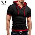 T Shirt Men Brand 2016 Fashion Men'S Hooded Collar Sling Design Tops & Tees T Shirt Men Short Sleeve Slim Male Tops 4XL NFS