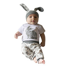 Newborn Baby Girl Boy Cartoon First Easter 3D Bunny Outfits Romper Hat Pants Set gifts for kid babys E1 cheap Sets REGULAR Unisex O-Neck HYM90308341 Pullover Broadcloth Full Fits true to size take your normal size Fashion COTTON