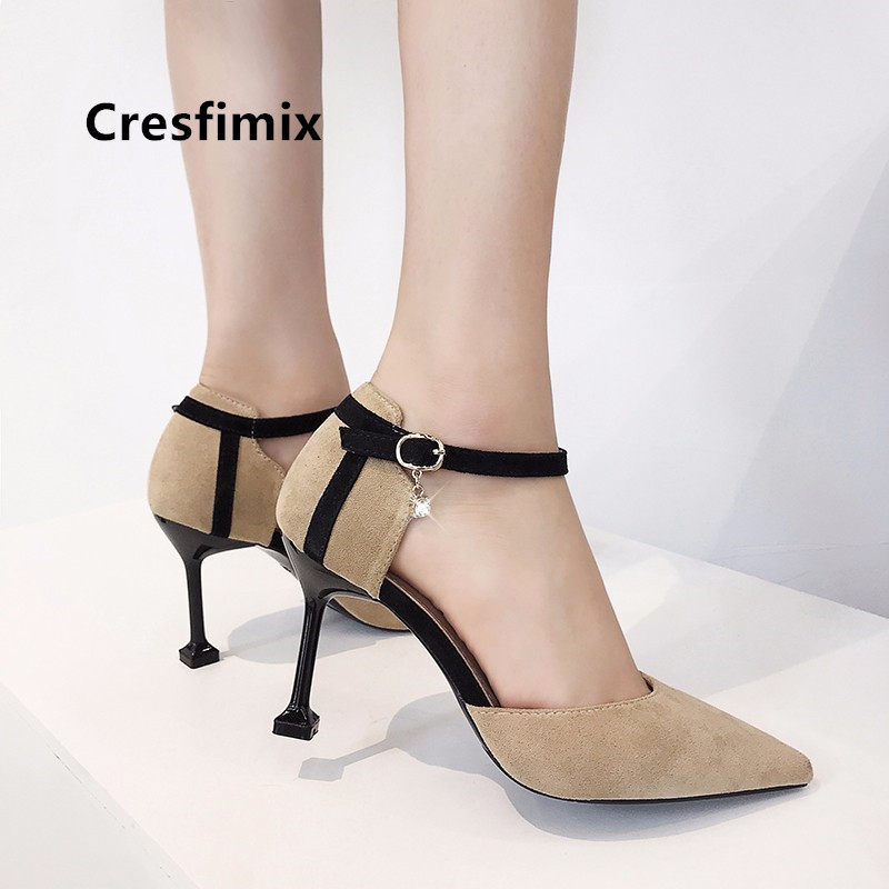 Cresfimix lady fashion sweet office high heel pumps women casual comfortable plus size black shoes mujer tacones altos a5343