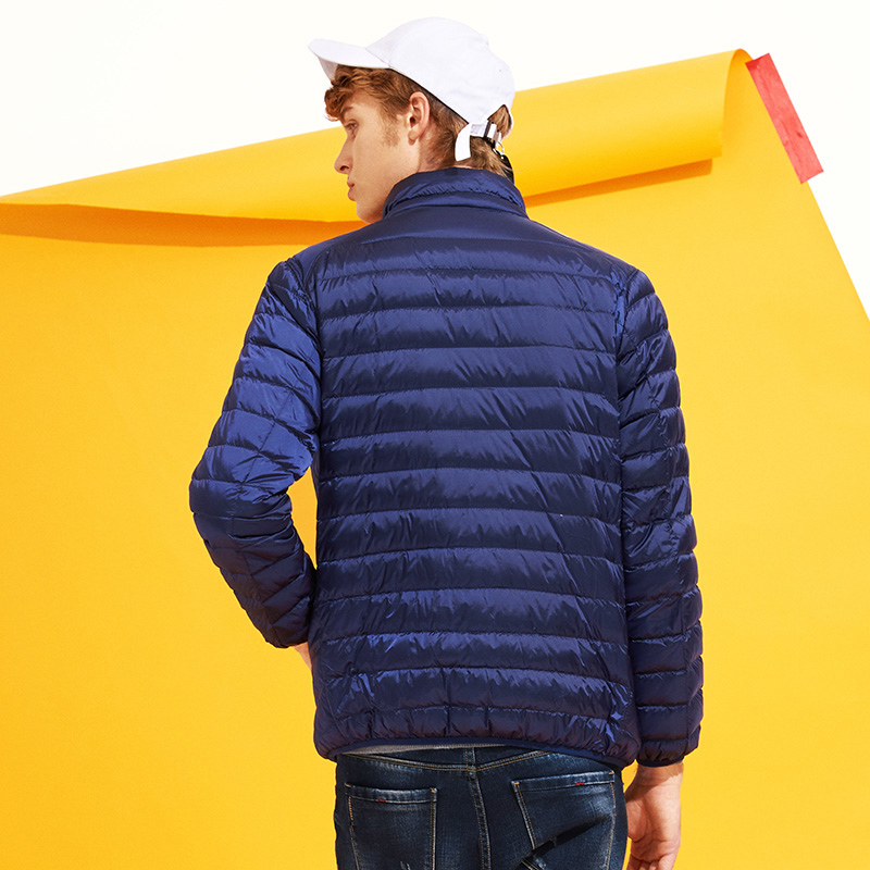 Pioneer Camp two color reversible wear down jacket men ultra Thin&light  white duck down coat male AYR701384