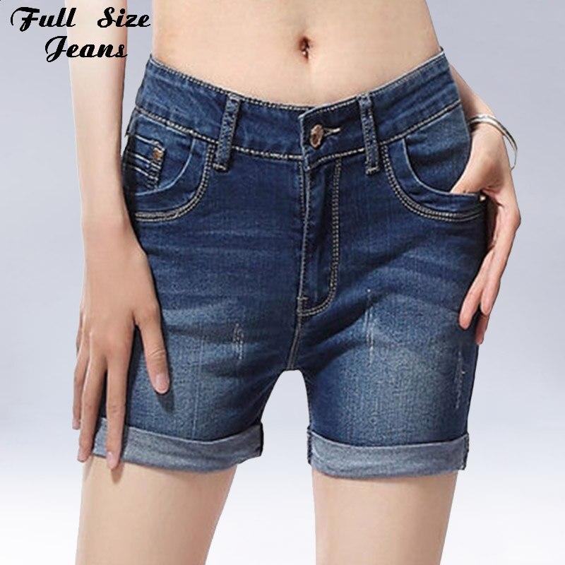 купить 2017 Summer Plus Size Cuffed Jean Shorts Oversized Stretch Denim Blue Shorts Casual Fit Short Jeans 4XL 5XL 6XL 7XL 22 24 дешево