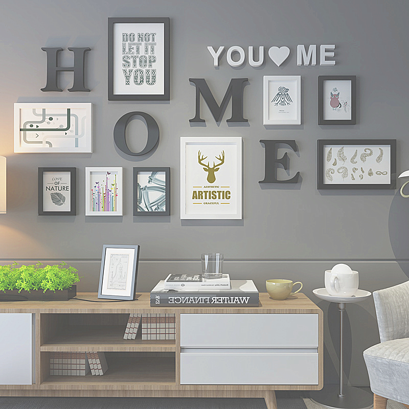 Black White Photo Frames For Home Decor 9pcs Modern Photo Frame Set With Letters DIY Wall