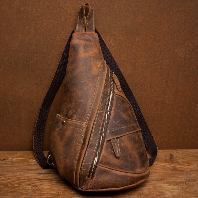 Men Messenger Bag Genuine Leather Cowhide Vintage Crossbody Shoulder Bag Brand Women Real Leather Sling Chest