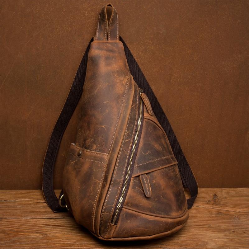 Men Messenger Bag Genuine Leather Cowhide Vintage Crossbody Shoulder Bag Brand Women Real Leather Sling Chest Bag Fashion Casual messenger bag