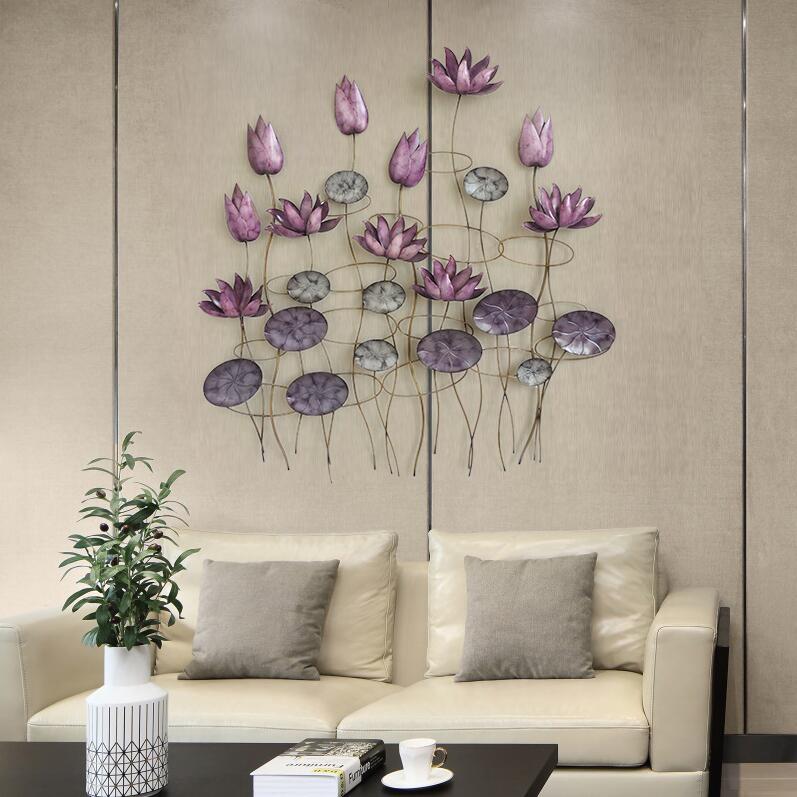 Современные Кованые Настенные Подвески в виде лотоса, украшения для стен, для дома, гостиной, дивана, фон, 3D Наклейка на стену, настенные украшения - 4