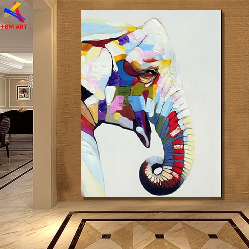 Large Elephant Picture Hand Painted Modern Abstract Oil