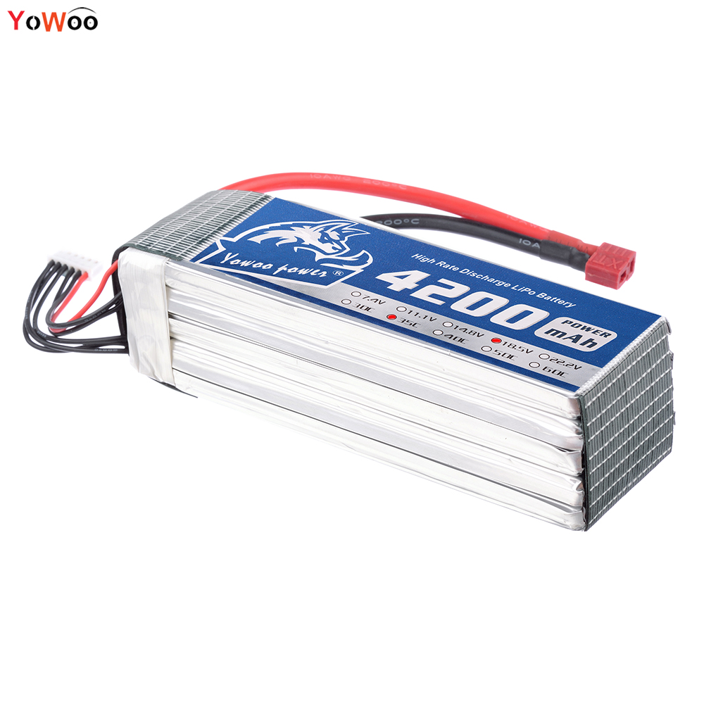 YOWOO Lipo 5S Battery 18.5v 4200mah 35c Max 70c RC Batteria AKKU Drone For Helicopter Airplane Car Boat Quadcopter mos 5s rc lipo battery 18 5v 25c 16000mah for rc aircraft car drones boat helicopter quadcopter airplane 5s li polymer batteria