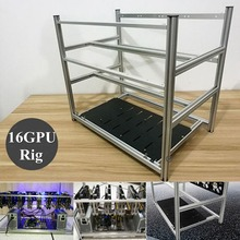 16 GPU Aluminum Stackable Open Air Frame Mining Miner Rig Case Crypto Coin ETH High quality computer case Towers For BTC