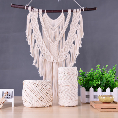 5mm 44 Yards Natural Cotton Macrame Cord Rope Supply for Handmade Plant Hanger Wall Hanging Loom Woven Curtain Handmade Inerior DIY