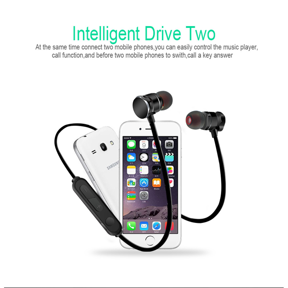 Magnetic Bluetooth Stereo Bass In Ear Wireless Earphones Sport Running earbuds With Microphone for iPhone Samsung