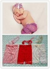 Ручной Новорожденный Ребенок Фотография реквизит Мини Кружева Брюки с согласованными Повязка Baby Shower Подарочные Реквизит для Новорожденных Фото опора(China (Mainland))