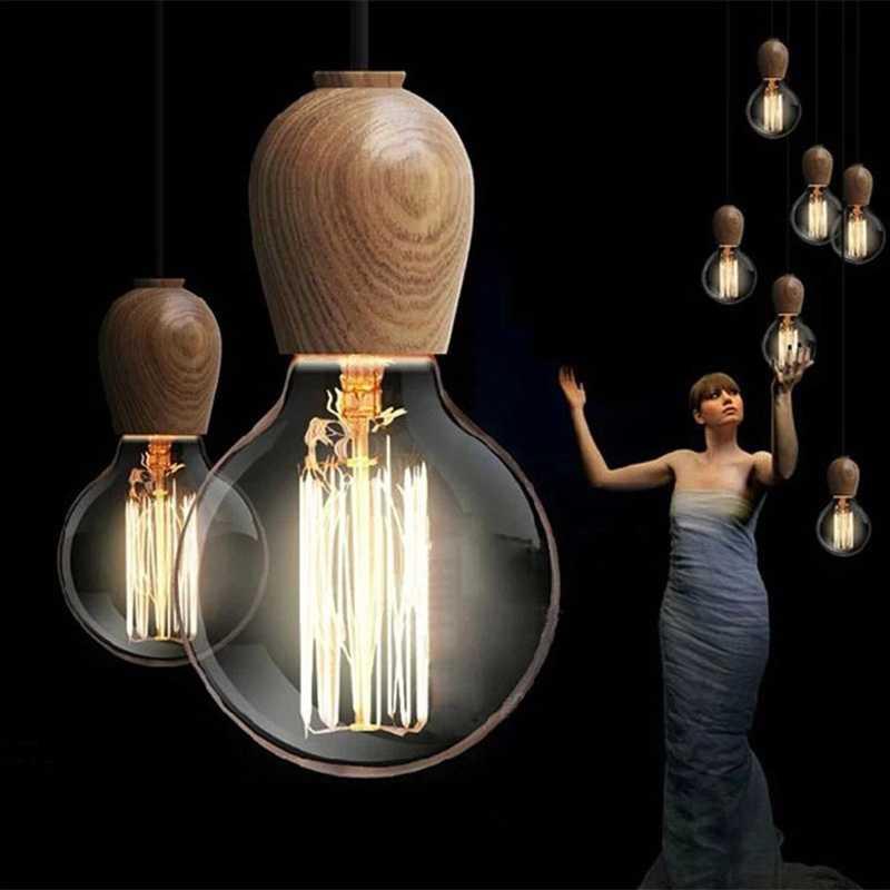 Antik Retro Liontin Kayu Ringan Ek Luster Warna Lampu Soket Kawat Dudukan Lampu Gantungan Lampu/Lampu (Tidak bola Lampu)