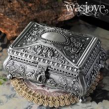 Большой Размеры высокое качество Винтаж Цветок Резные цинковый сплав металлическая коробка для безделушек шкатулка для драгоценностей Цепочки и ожерелья с подвесками хранения Чехол