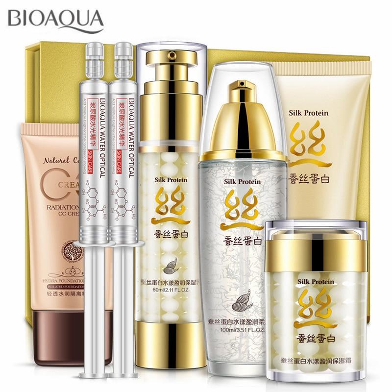BIOAQUA Silk Protein Skin Care Set 7Pcs Deep Moisturizing Hyaluronic Acid Liquid Anti Wrinkle Anti Aging Collagen Essence Cream