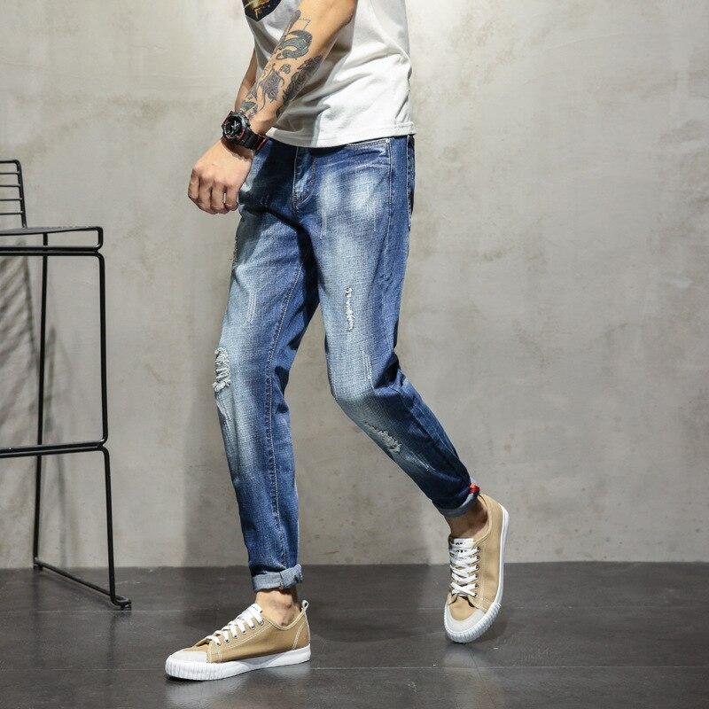 9d9817a16d6d Для мужчин Однотонная повседневная обувь Хлопок Тонкий Длинные джинсы  мужской Ropped отверстие прямые полной длины джинсовые штаны классичес.