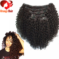 African American Kinky Curly Clip in Human Hair extension 4b 4c natural remy brazilian virgin hair clip in weave extension