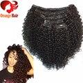 Africano Americano Kinky Curly Grampo na extensão do Cabelo Humano 4b 4c natural remy brasileiro grampo de cabelo virgem em extensão tecer